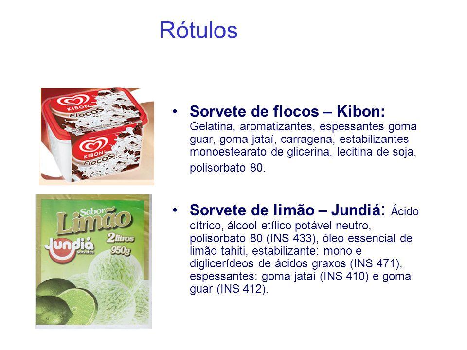 Rótulos Sorvete de flocos – Kibon: Gelatina, aromatizantes, espessantes goma guar, goma jataí, carragena, estabilizantes monoestearato de glicerina, l