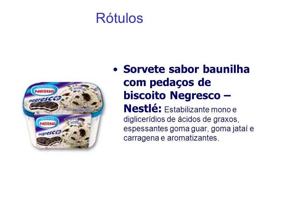 Rótulos Sorvete sabor baunilha com pedaços de biscoito Negresco – Nestlé: Estabilizante mono e diglicerídios de ácidos de graxos, espessantes goma gua