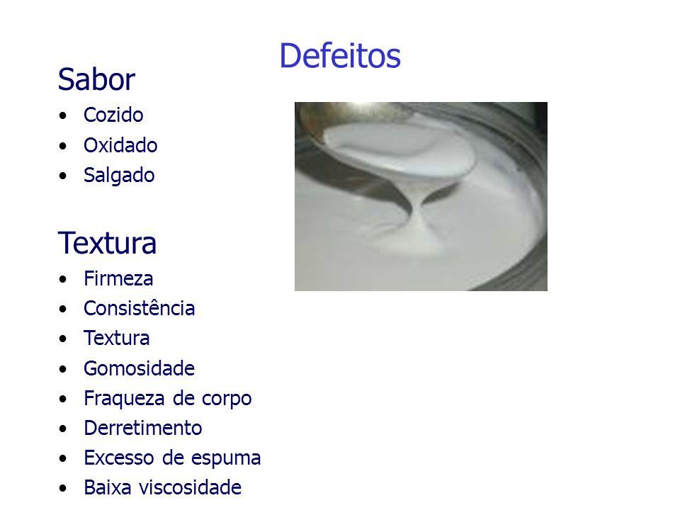 Defeitos Sabor Cozido Oxidado Salgado Textura Firmeza Consistência Textura Gomosidade Fraqueza de corpo Derretimento Excesso de espuma Baixa viscosida