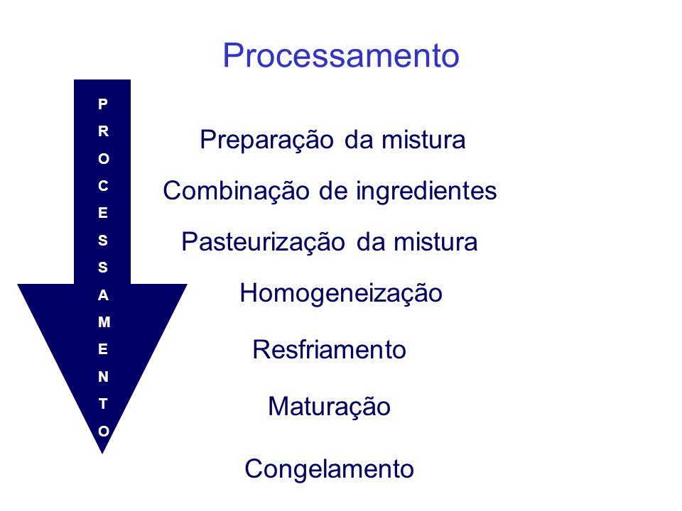 Processamento Preparação da mistura Combinação de ingredientes Pasteurização da mistura Homogeneização Resfriamento Maturação Congelamento PROCESSAMEN