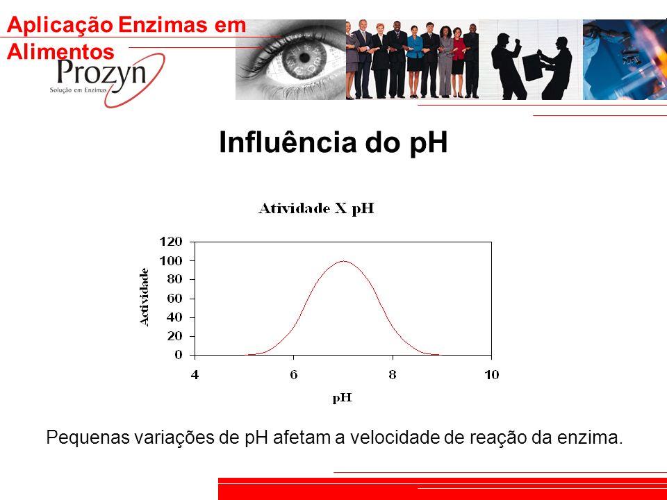 Aplicação Enzimas em Alimentos Influência do pH Pequenas variações de pH afetam a velocidade de reação da enzima.