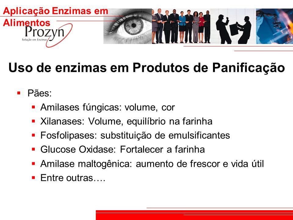 Aplicação Enzimas em Alimentos Uso de enzimas em Produtos de Panificação Pães: Amilases fúngicas: volume, cor Xilanases: Volume, equilíbrio na farinha