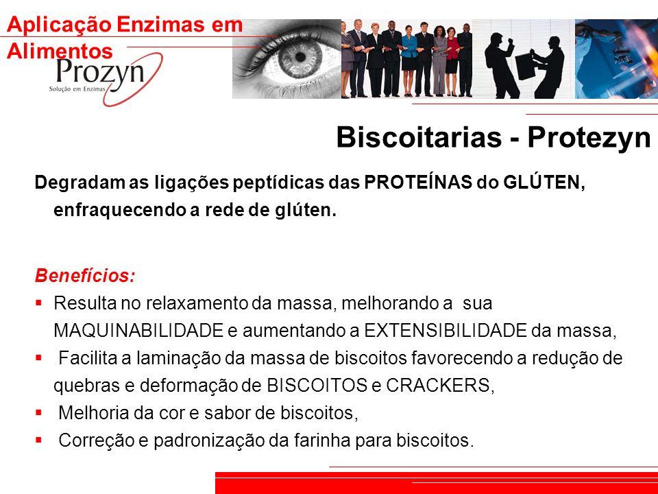 Aplicação Enzimas em Alimentos Biscoitarias - Protezyn Degradam as ligações peptídicas das PROTEÍNAS do GLÚTEN, enfraquecendo a rede de glúten. Benefí