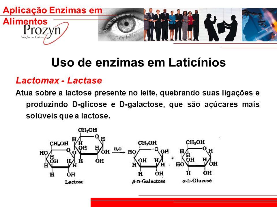 Aplicação Enzimas em Alimentos Uso de enzimas em Laticínios Lactomax - Lactase Atua sobre a lactose presente no leite, quebrando suas ligações e produ