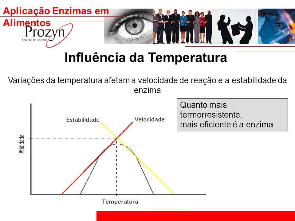 Aplicação Enzimas em Alimentos Influência da Temperatura Variações da temperatura afetam a velocidade de reação e a estabilidade da enzima Quanto mais