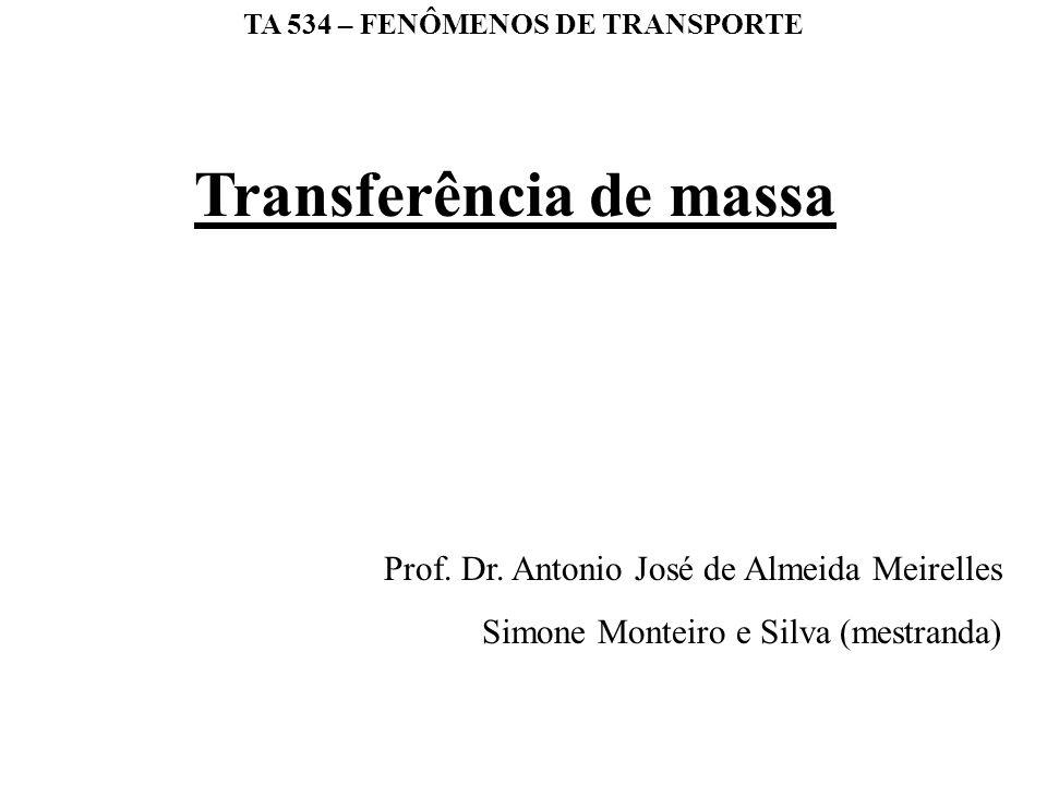 TA 534 – FENÔMENOS DE TRANSPORTE Prof. Dr. Antonio José de Almeida Meirelles Simone Monteiro e Silva (mestranda) Transferência de massa