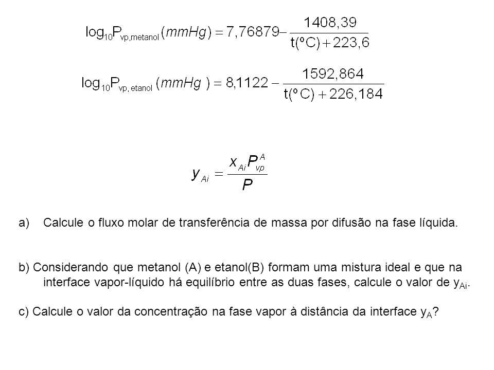a)Calcule o fluxo molar de transferência de massa por difusão na fase líquida. b) Considerando que metanol (A) e etanol(B) formam uma mistura ideal e