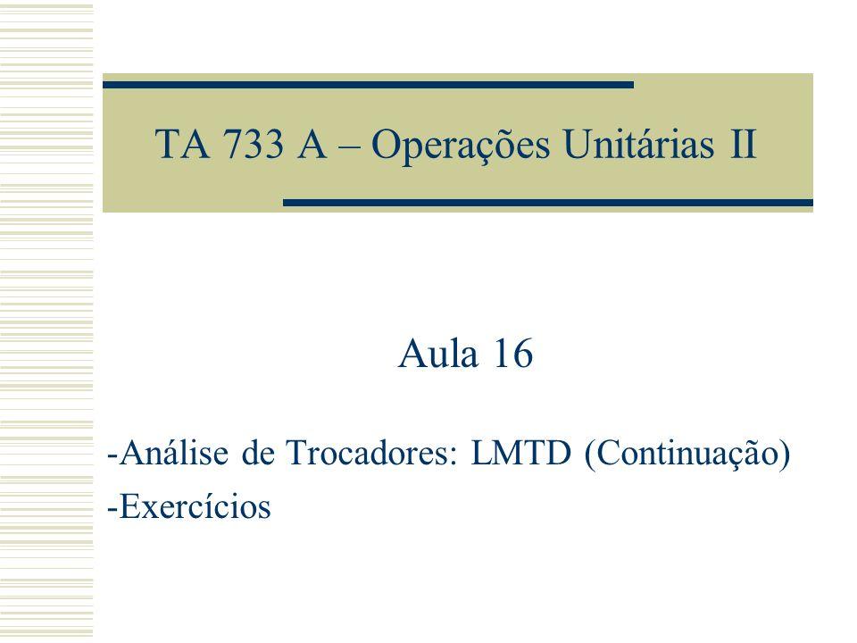 TA 733 A – Operações Unitárias II Aula 16 -Análise de Trocadores: LMTD (Continuação) -Exercícios