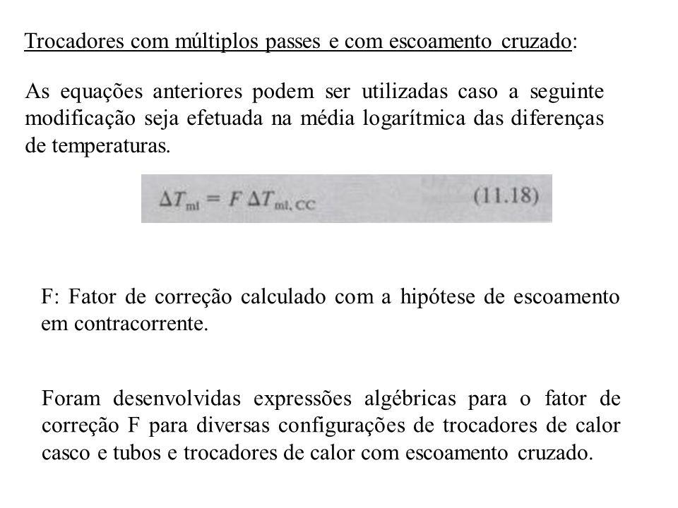 Trocadores com múltiplos passes e com escoamento cruzado: As equações anteriores podem ser utilizadas caso a seguinte modificação seja efetuada na méd