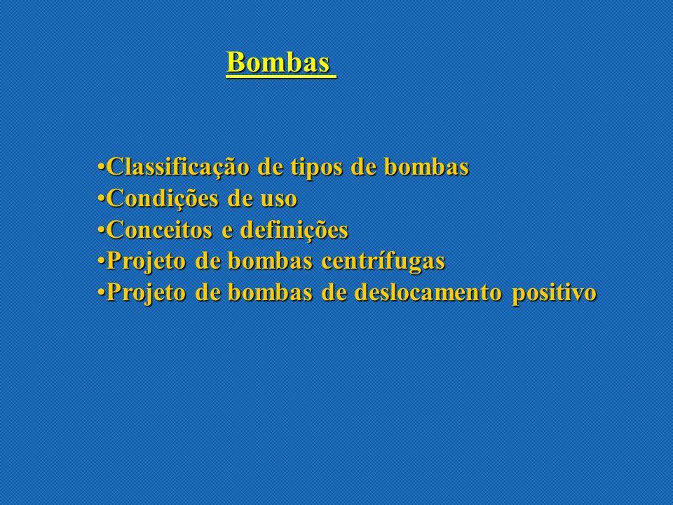 Dados fornecidos pelo fabricante : curva característica da bomba Exemplo : bomba centrífuga Vazão volumétrica = capacidade da bomba