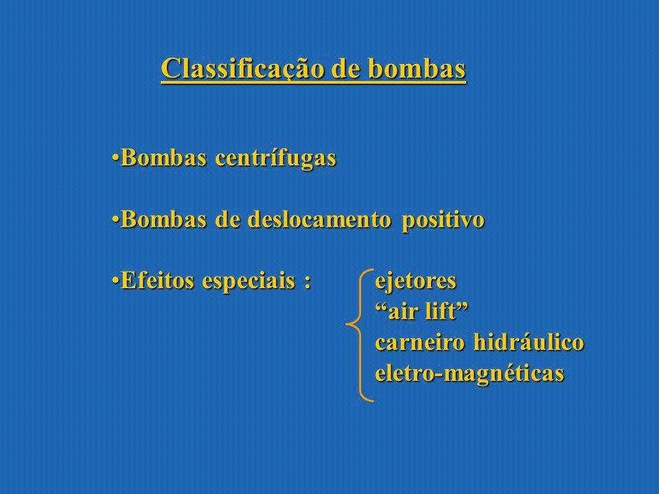Desvantagens das bombas centrífugas: Não pode ser operada a altas pressões( em um estágio) Sujeita à incorporação de ar e normalmente precisa ser escorvada A máxima eficiência da bomba se localiza em um curto intervalo de condições Não manuseia líquidos altamente viscosos eficientemente