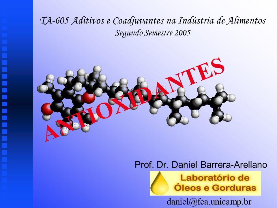 ¹Antioxidantes u u Secundários: Auxiliares, sinergistas Aumentam a atividade dos primários Ex.: Ácido cítrico, ácido ascórbico, EDTA, lecitina