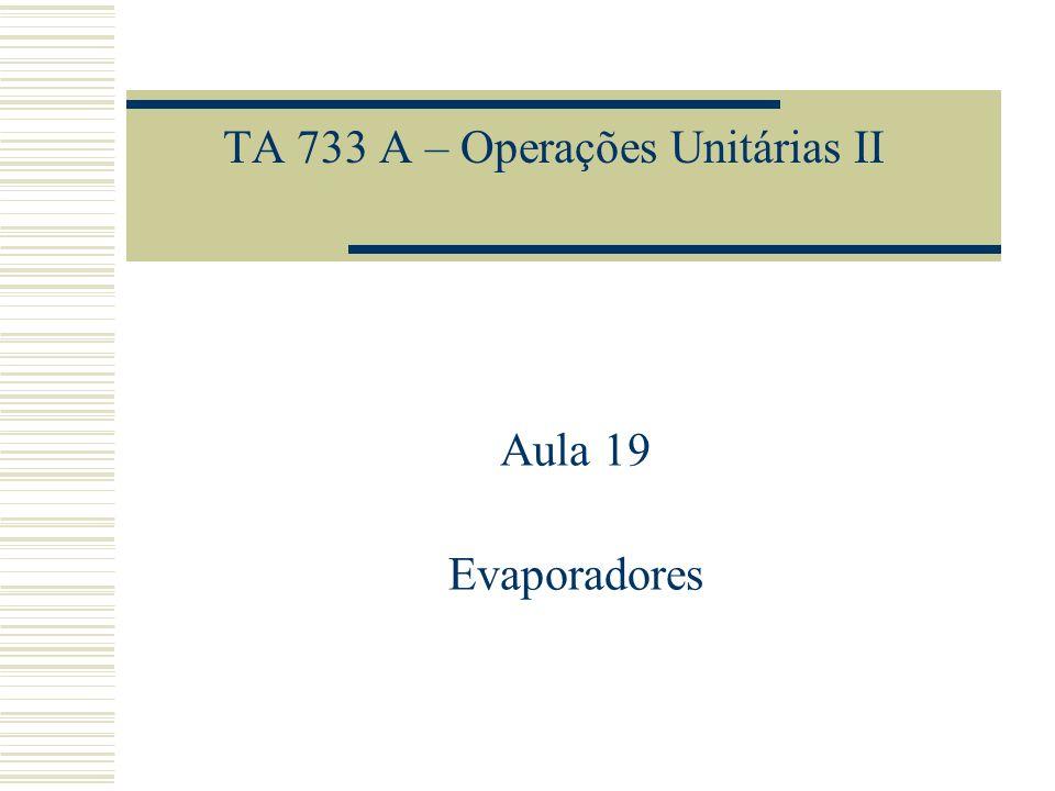 TA 733 A – Operações Unitárias II Aula 19 Evaporadores