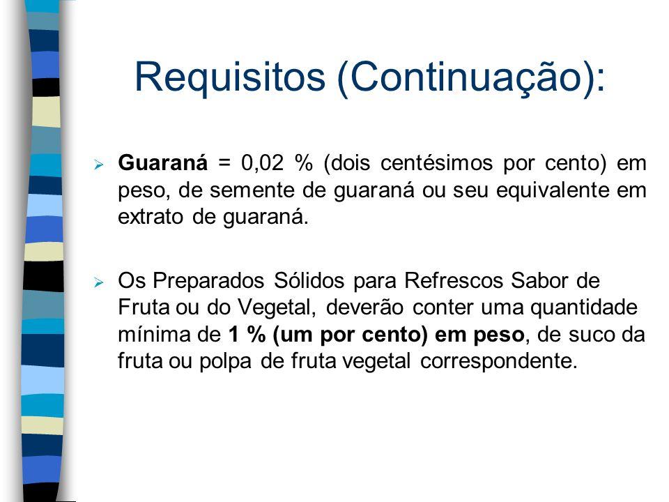 Requisitos n Para cada sabor e tipo de suco existem quantidades mínimas específicas, em peso, de suco desidratado da fruta correspondente, como por ex