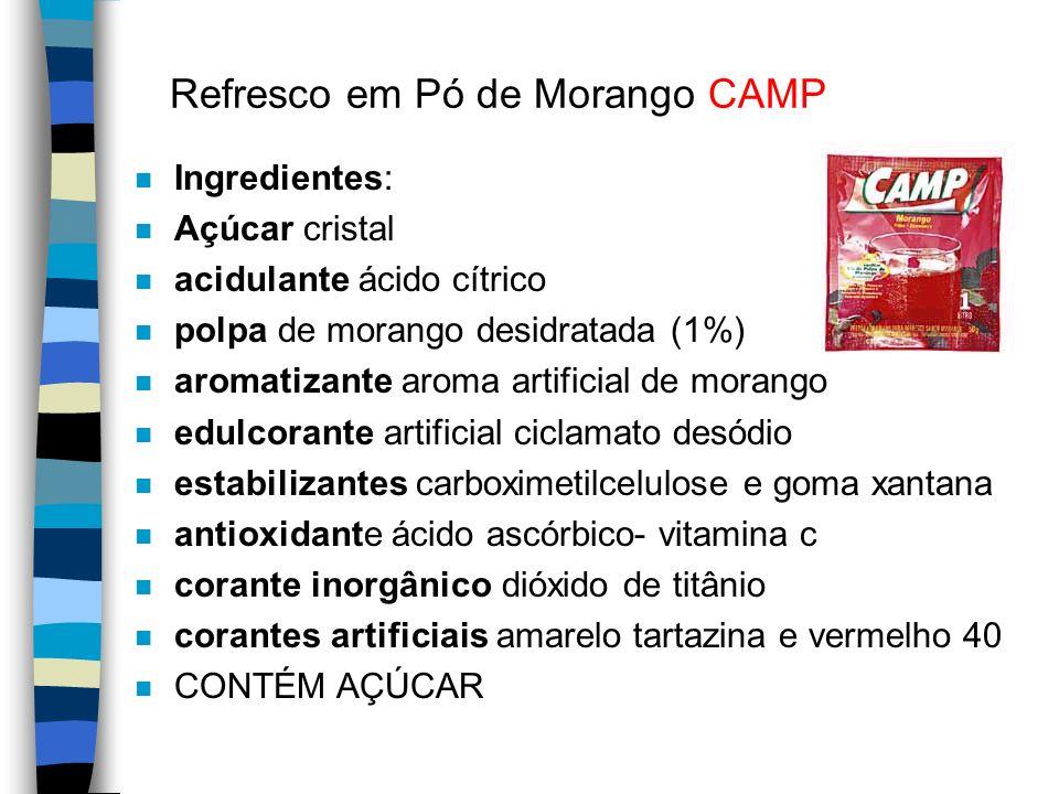 MID: Refresco em Pó de Graviola n Ingrediente: n Açúcar n polpa de graviola desidratada (1%), n vitamina C ácido ascórbico n acidulante ácido cítrico, n regulador de acidez (citrato de sódio), n aromatizante aroma indêntico ao natural de graviola n antiumectante fosfato tricálcico n corante inorgânico dióxido de titânio n corantes artificiais tartrazina.