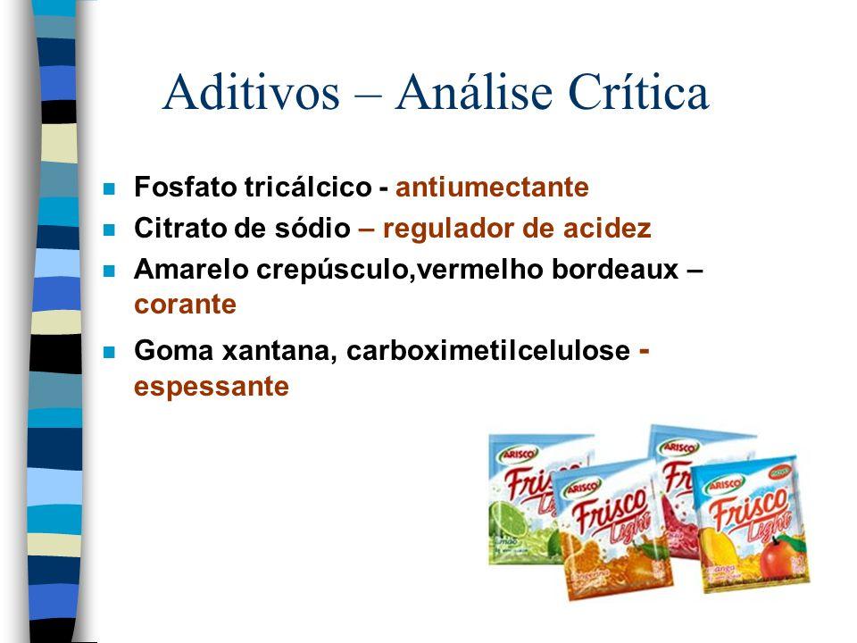 Aditivos – Análise Crítica n Maltodextrina – Agente de massa n Ácido cítrico – Acidulante n aspartame- acessulfame ciclamato de sódio - edulcorante n