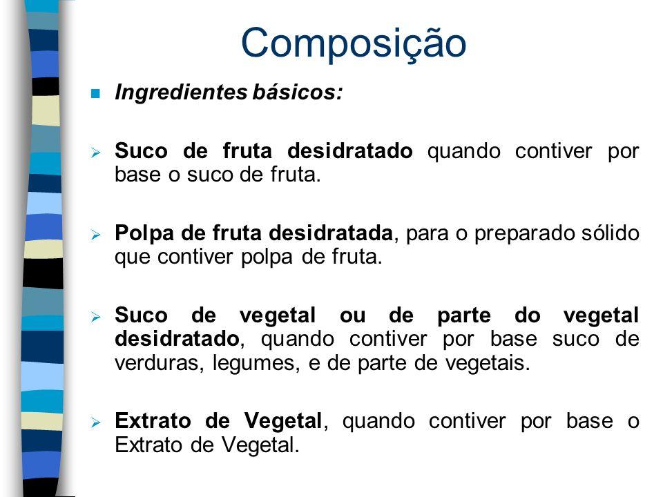 Classificação/Designação (Continuação): n O Preparado Sólido para Refresco Artificial terá sua denominação seguida da palavra