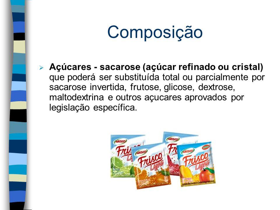 Composição n Ingredientes básicos: Suco de fruta desidratado quando contiver por base o suco de fruta. Polpa de fruta desidratada, para o preparado só