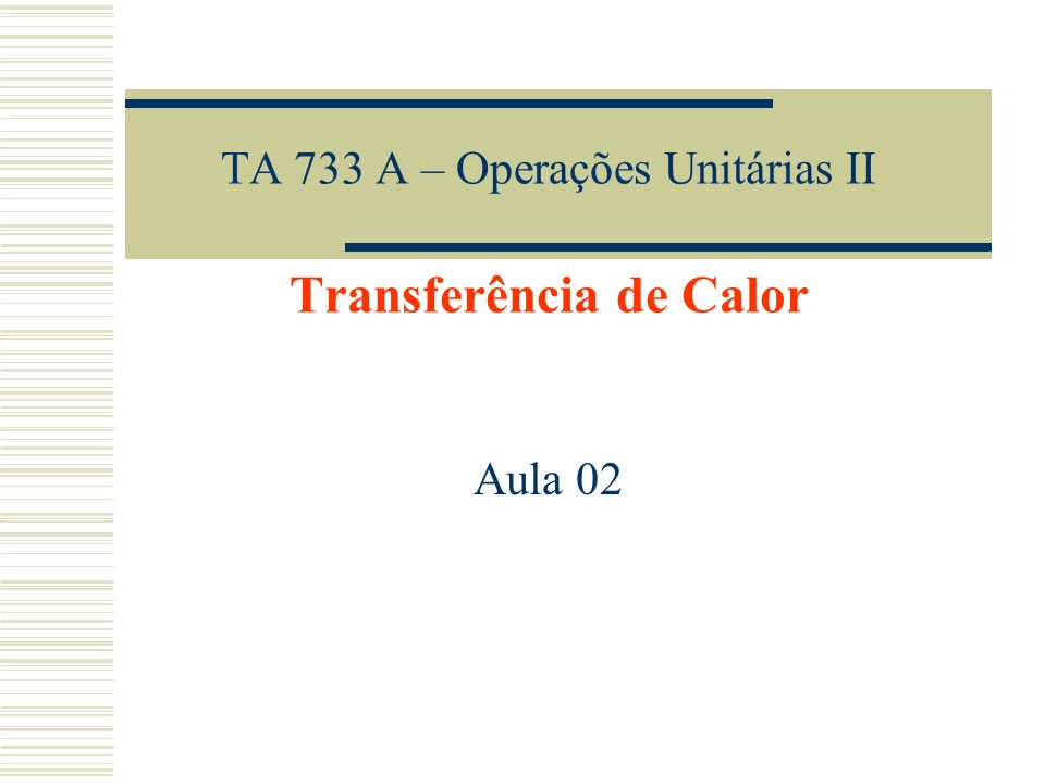 TA 733 A – Operações Unitárias II Transferência de Calor Aula 02