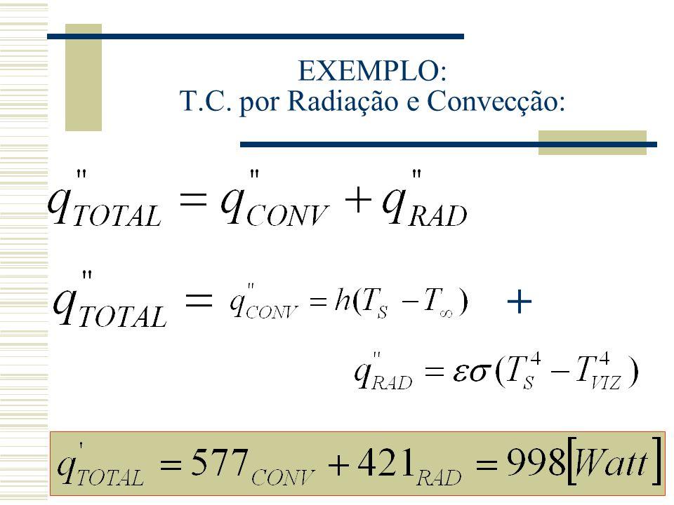 EXEMPLO: T.C. por Radiação e Convecção: +