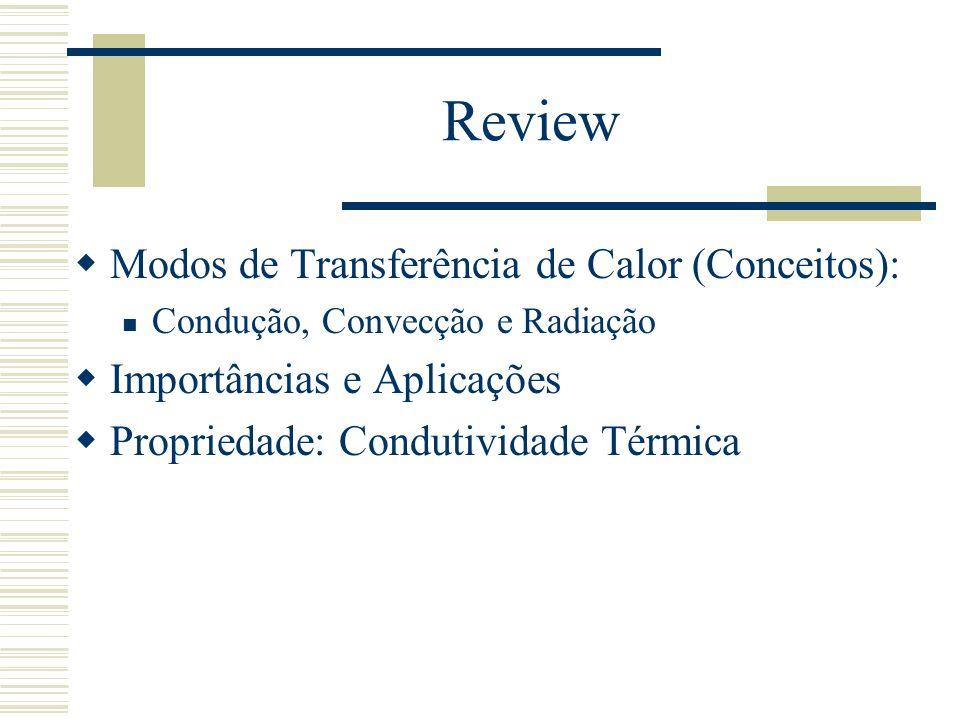 Review Modos de Transferência de Calor (Conceitos): Existência de T: Condução: Através de um meio (Sólido, Líquido); Convecção: Entre superfície e fluido em movimento (forçado ou natural); Radiação: Entre duas superfícies (sem meio de transmissão)