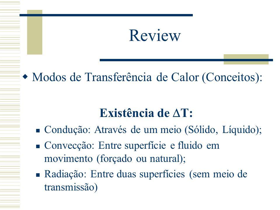 Review Modos de Transferência de Calor (Conceitos): Existência de T: Condução: Através de um meio (Sólido, Líquido); Convecção: Entre superfície e flu