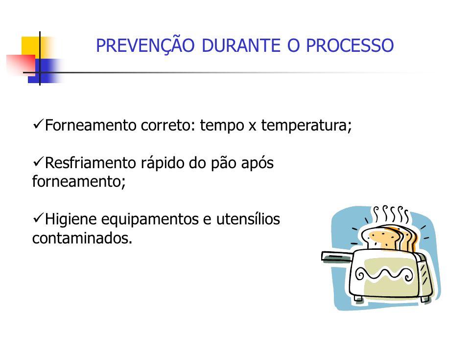 PREVENÇÃO DURANTE O PROCESSO Forneamento correto: tempo x temperatura; Resfriamento rápido do pão após forneamento; Higiene equipamentos e utensílios
