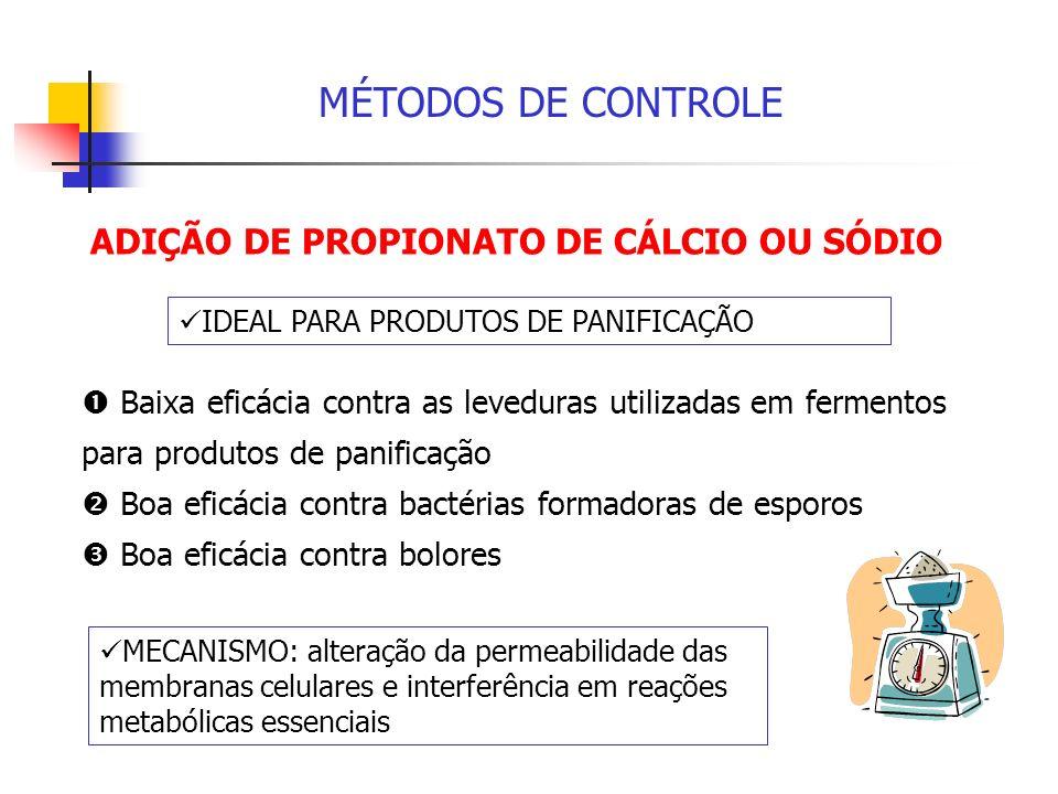 MÉTODOS DE CONTROLE ADIÇÃO DE PROPIONATO DE CÁLCIO OU SÓDIO Baixa eficácia contra as leveduras utilizadas em fermentos para produtos de panificação Bo