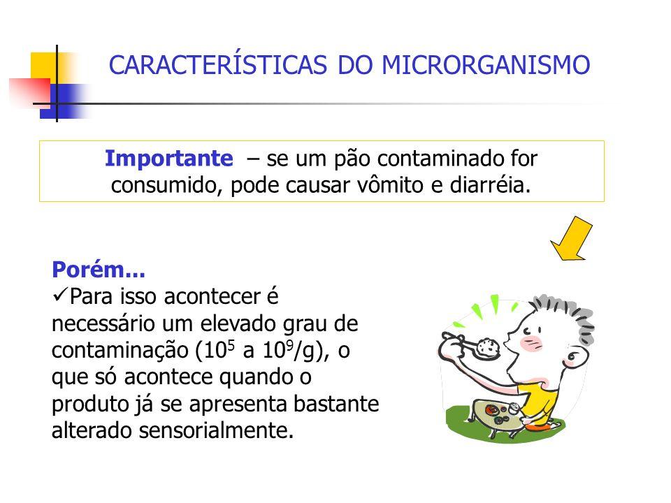 CARACTERÍSTICAS DO MICRORGANISMO Importante – se um pão contaminado for consumido, pode causar vômito e diarréia. Porém... Para isso acontecer é neces