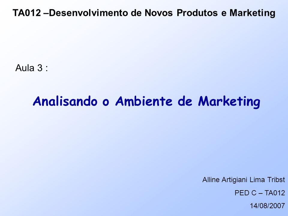Analisando o Ambiente de Marketing TA012 –Desenvolvimento de Novos Produtos e Marketing Aula 3 : Alline Artigiani Lima Tribst PED C – TA012 14/08/2007