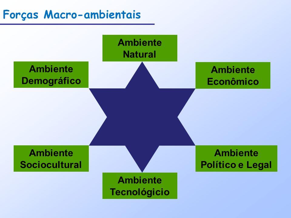 Forças Macro-ambientais Ambiente Demográfico Ambiente Econômico Ambiente Natural Ambiente Tecnológicio Ambiente Político e Legal Ambiente Sociocultura