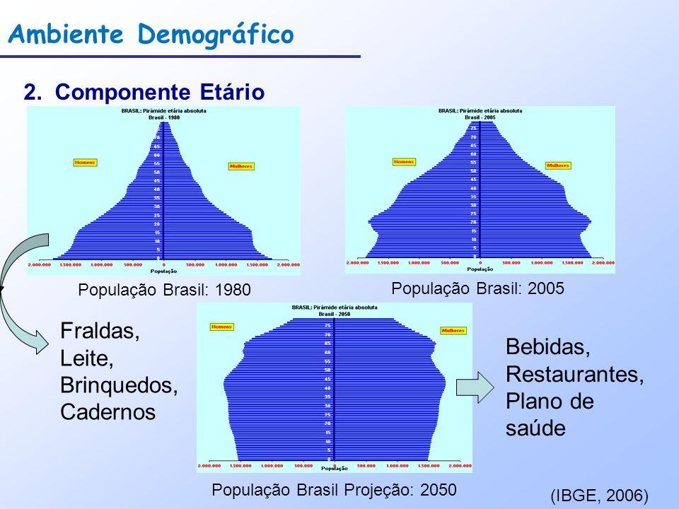 Ambiente Demográfico 2. Componente Etário População Brasil: 1980 População Brasil: 2005 População Brasil Projeção: 2050 (IBGE, 2006) Fraldas, Leite, B