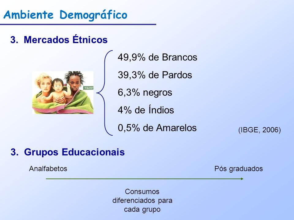 Ambiente Demográfico 3. Mercados Étnicos 49,9% de Brancos 39,3% de Pardos 6,3% negros 4% de Índios 0,5% de Amarelos (IBGE, 2006) 3. Grupos Educacionai
