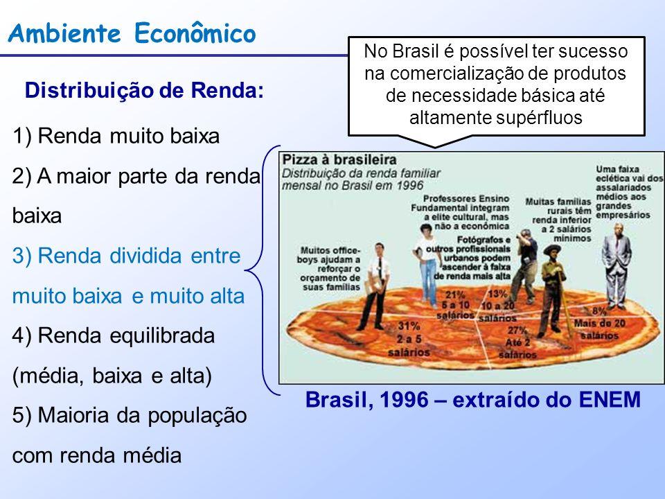 Ambiente Econômico Distribuição de Renda: 1) Renda muito baixa 2) A maior parte da renda baixa 3) Renda dividida entre muito baixa e muito alta 4) Renda equilibrada (média, baixa e alta) 5) Maioria da população com renda média Brasil, 1996 – extraído do ENEM No Brasil é possível ter sucesso na comercialização de produtos de necessidade básica até altamente supérfluos