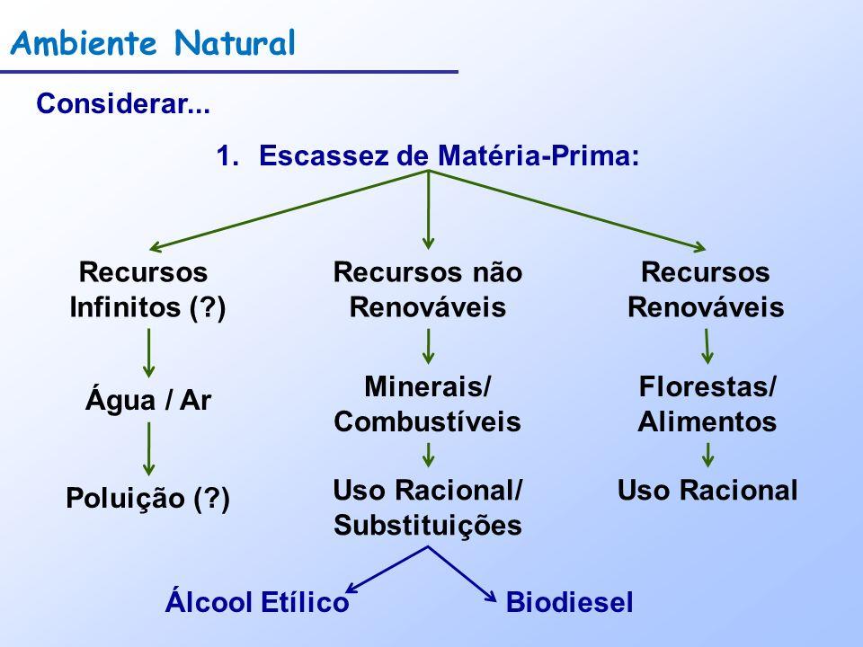 Ambiente Natural Considerar... 1.Escassez de Matéria-Prima: Recursos Infinitos (?) Recursos não Renováveis Água / Ar Recursos Renováveis Poluição (?)