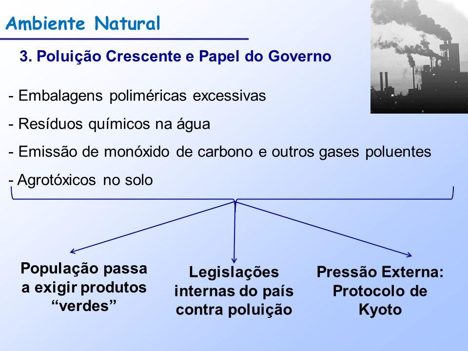 Ambiente Natural 3. Poluição Crescente e Papel do Governo - Embalagens poliméricas excessivas - Resíduos químicos na água - Emissão de monóxido de car