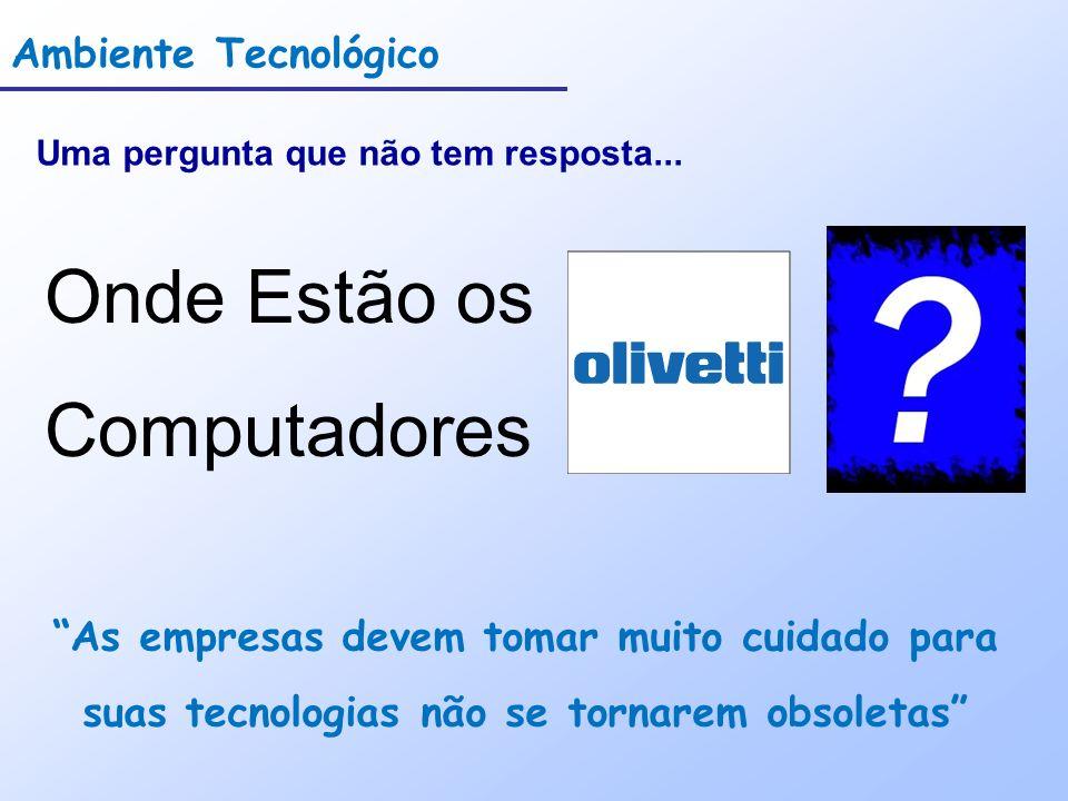 Ambiente Tecnológico Uma pergunta que não tem resposta... Onde Estão os Computadores As empresas devem tomar muito cuidado para suas tecnologias não s