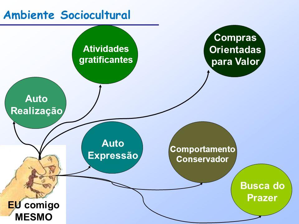Ambiente Sociocultural EU comigo MESMO Auto Realização Atividades gratificantes Auto Expressão Comportamento Conservador Busca do Prazer Compras Orien