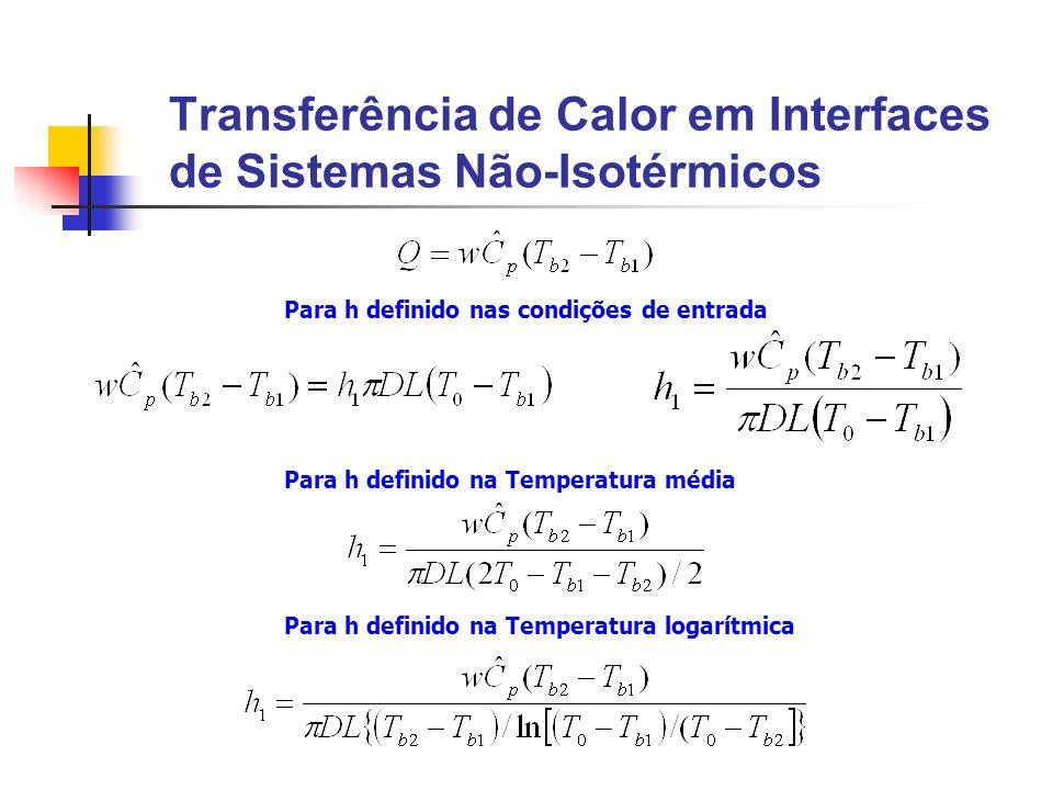 Transferência de Calor em Interfaces de Sistemas Não-Isotérmicos Para h definido nas condições de entrada Para h definido na Temperatura média Para h