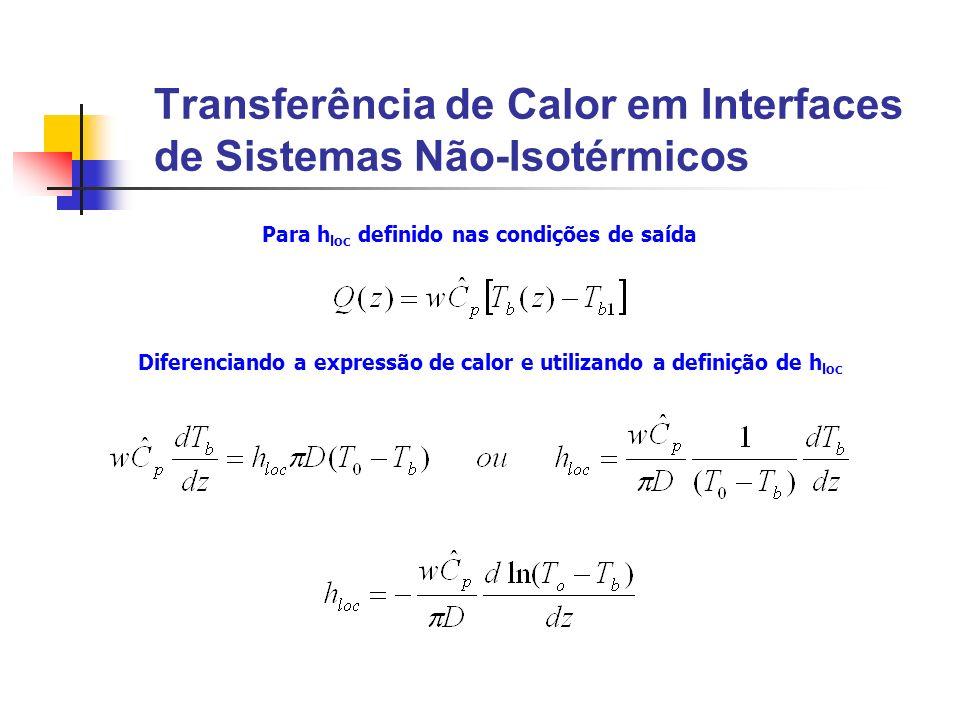 Transferência de Calor em Interfaces de Sistemas Não-Isotérmicos Para h loc definido nas condições de saída Diferenciando a expressão de calor e utili