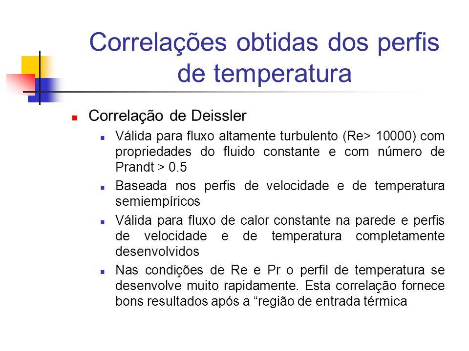 Correlações obtidas dos perfis de temperatura Correlação de Deissler Válida para fluxo altamente turbulento (Re> 10000) com propriedades do fluido con
