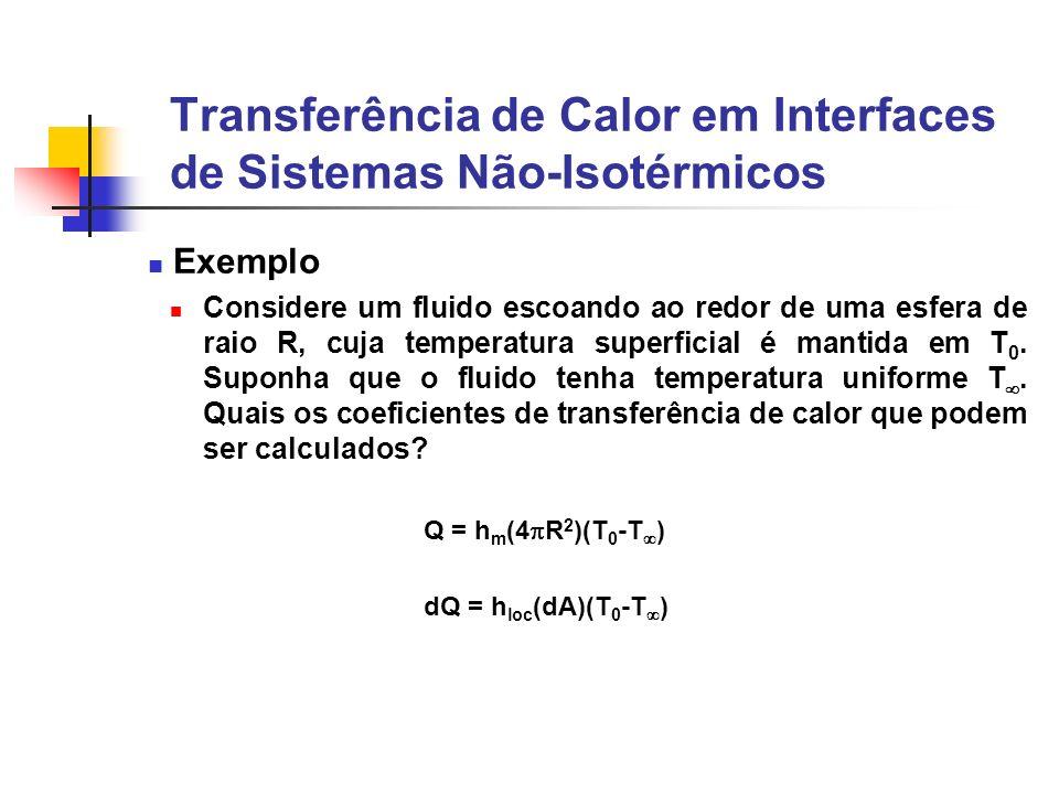 Transferência de Calor em Interfaces de Sistemas Não-Isotérmicos Exemplo Considere um fluido escoando ao redor de uma esfera de raio R, cuja temperatu