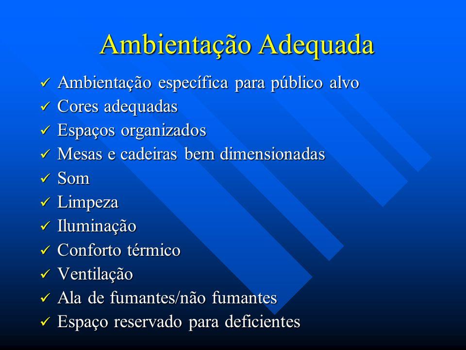 Ambientação Adequada Ambientação Adequada Ambientação específica para público alvo Ambientação específica para público alvo Cores adequadas Cores adeq