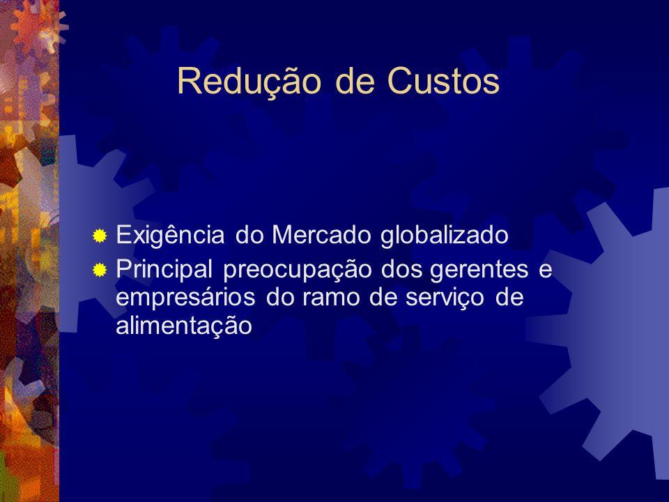 Redução de Custos Exigência do Mercado globalizado Principal preocupação dos gerentes e empresários do ramo de serviço de alimentação