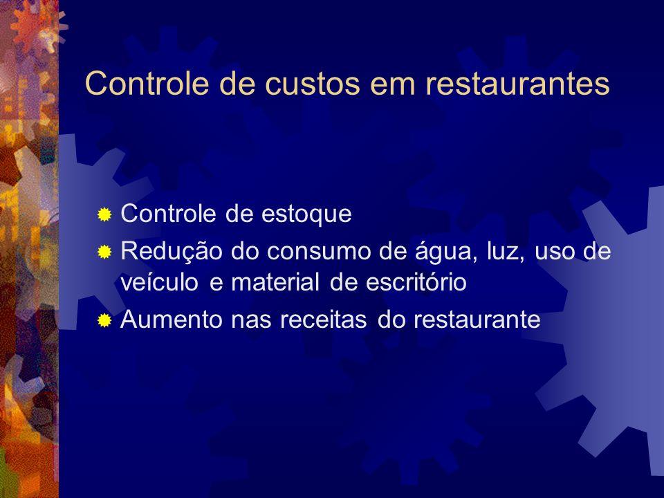 Controle de custos em restaurantes Controle de estoque Redução do consumo de água, luz, uso de veículo e material de escritório Aumento nas receitas d