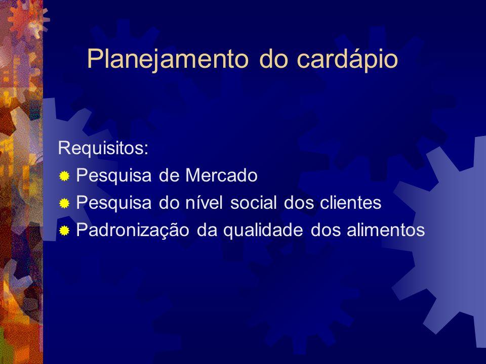 Planejamento do cardápio Requisitos: Pesquisa de Mercado Pesquisa do nível social dos clientes Padronização da qualidade dos alimentos