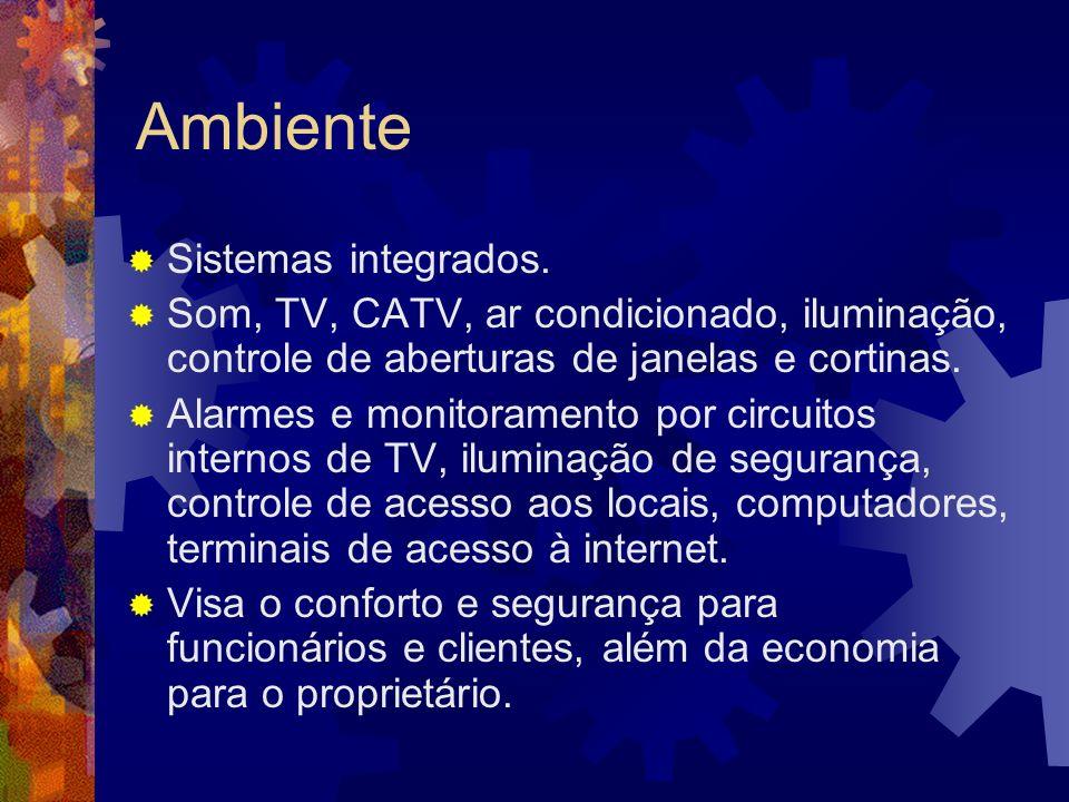Ambiente Sistemas integrados. Som, TV, CATV, ar condicionado, iluminação, controle de aberturas de janelas e cortinas. Alarmes e monitoramento por cir