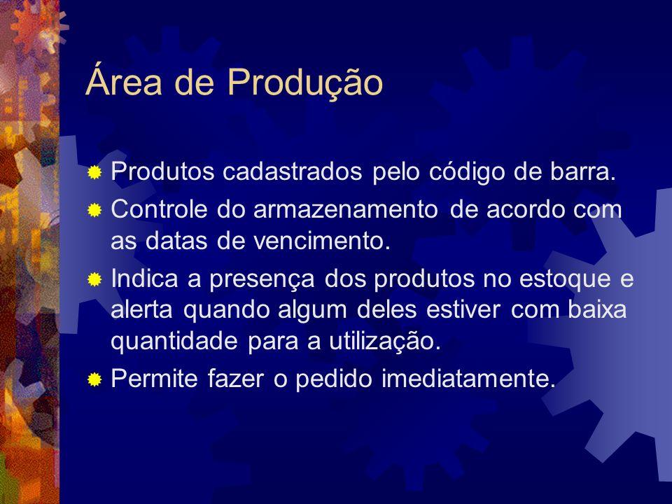 Área de Produção Produtos cadastrados pelo código de barra. Controle do armazenamento de acordo com as datas de vencimento. Indica a presença dos prod