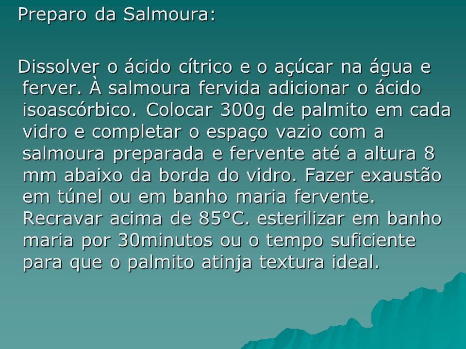 Preparo da Salmoura: Preparo da Salmoura: Dissolver o ácido cítrico e o açúcar na água e ferver. À salmoura fervida adicionar o ácido isoascórbico. Co