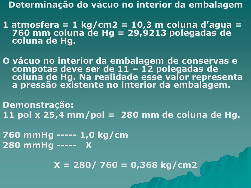 Determinação do vácuo no interior da embalagem 1 atmosfera = 1 kg/cm2 = 10,3 m coluna dagua = 760 mm coluna de Hg = 29,9213 polegadas de coluna de Hg.